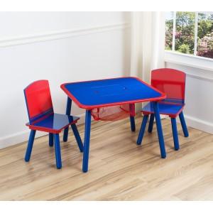 Dětský stolek a židle v modro červené barevné kombinaci