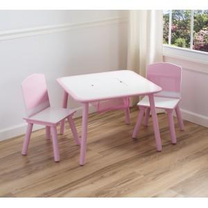 Holčičí set stolku a židlí v růžové barvě