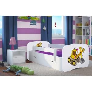 Dětské postele bílé barvy s motivem bagru