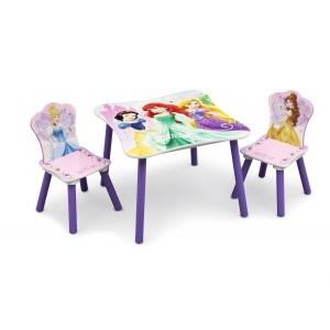 Dřevěný stolek a židle s motivem princezen