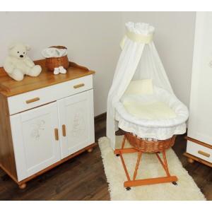 Postýlka pro novorozence s bíle krémovou sadou