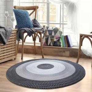 Stylový kulatý koberec černo šedý