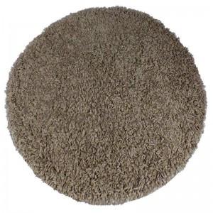 Kulatý koberec shaggy v cappuccino barvě