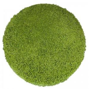 Zelený shaggy koberec kulatý
