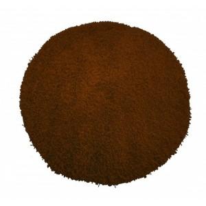 Shaggy hnědý koberec kulatý