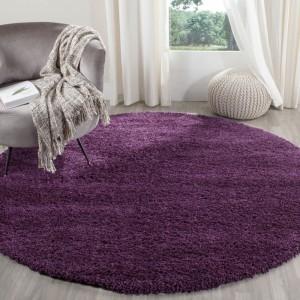 Fialový koberec kruhový shaggy