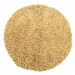 Kulatý koberec světle hnědé barvy shaggy