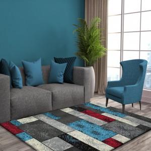 Barevný koberec šedě červeno tyrkysový