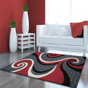 Koberec kusový červeno šedý do ložnice