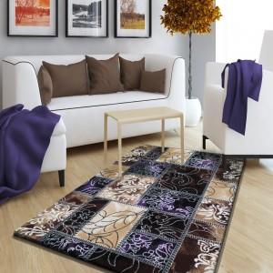 Moderní koberec v hnědo fialové barevné kombinaci