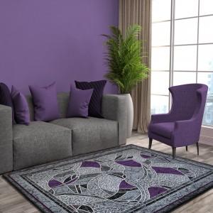 Vzorovaný koberec šedě fialový