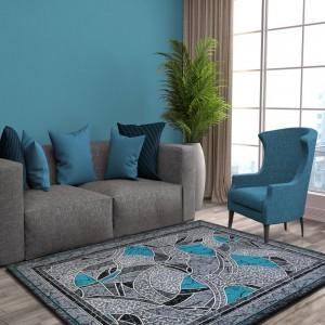Moderní koberec do obýváku šedě tyrkysový