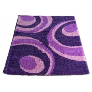 Fialový koberec shaggy s kruhy