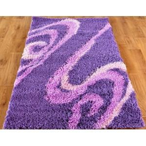 Moderní koberce shaggy fialové barvy