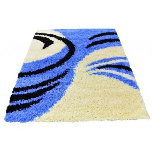 Shaggy koberec modrý s černým a krémovým vzorem