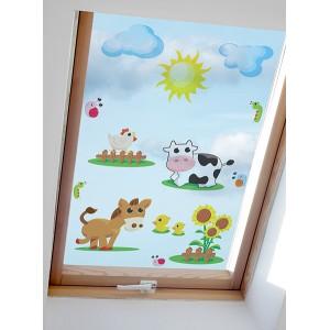 Nalepovací obrázky na okno s motivem farmy