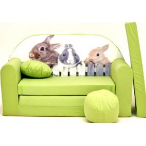 Rozkládací pohovka pro děti se zajíčky