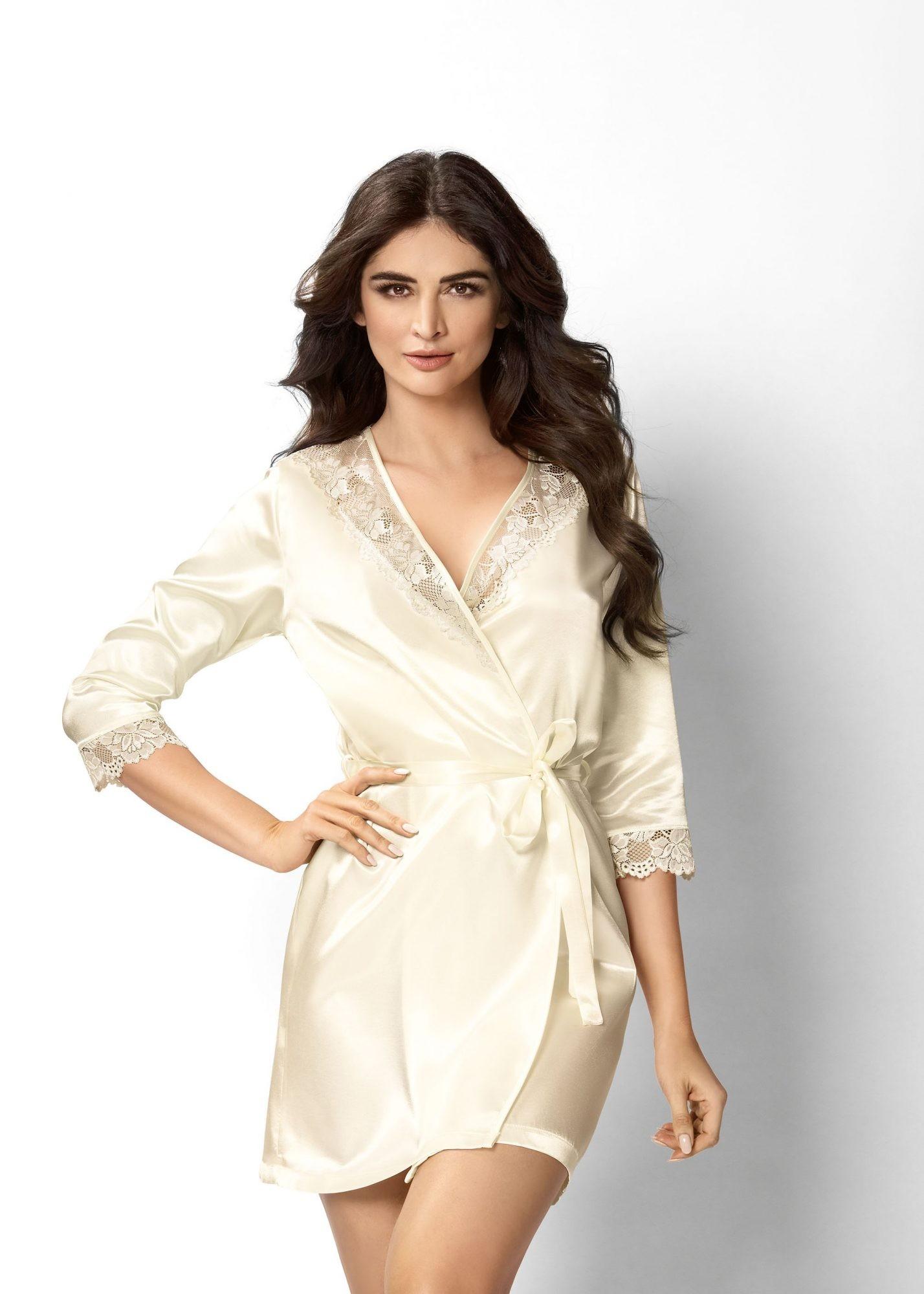 Elegantní dámský župan v krémové barvě s krajkou