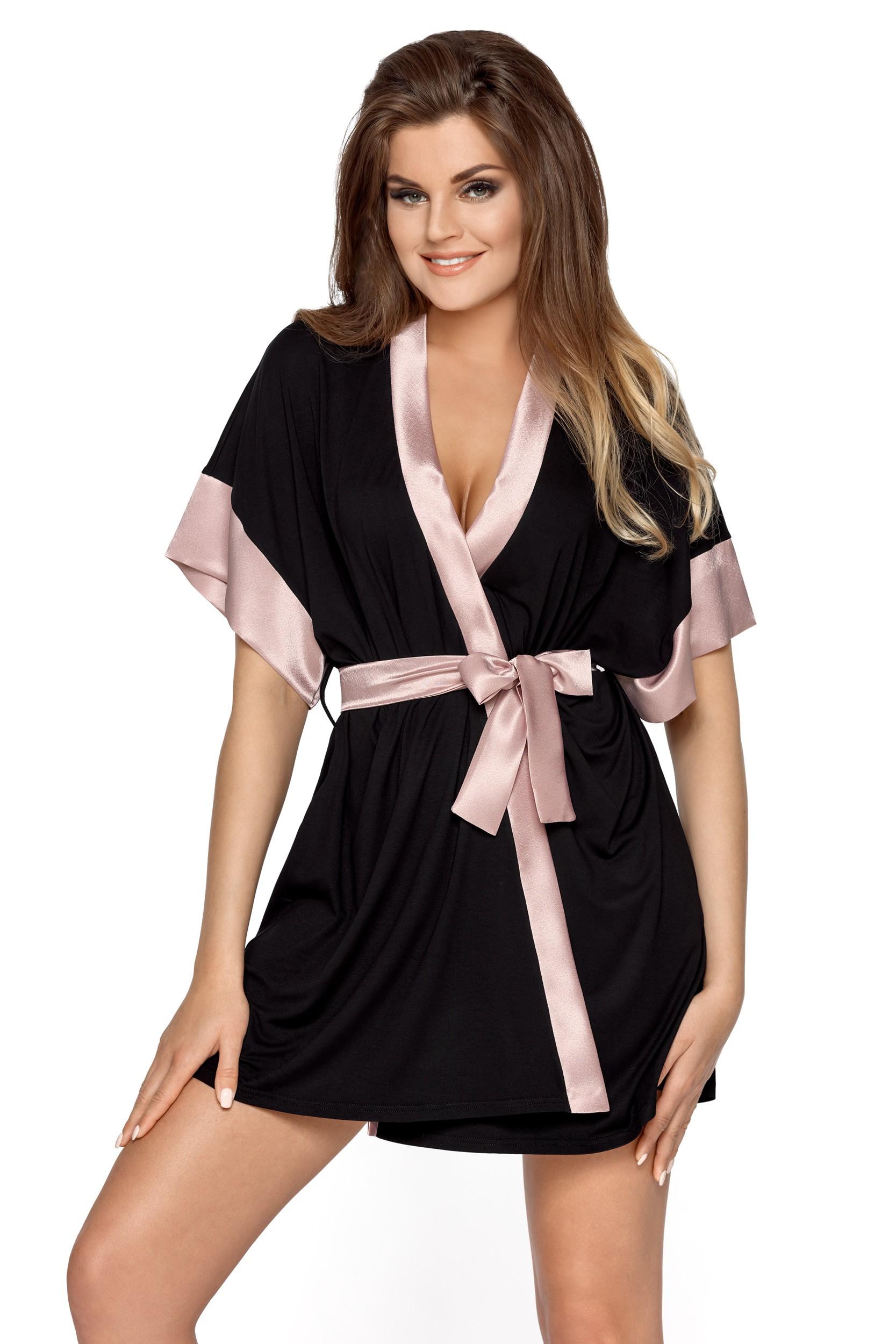 Romantický župan v černo růžové barvě pro ženy