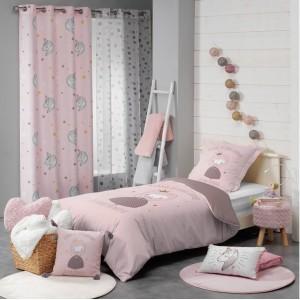 Dívčí růžové závěsy do dětského pokoje s jednorožci