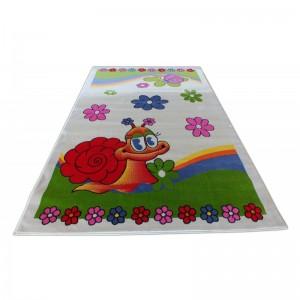 Krémový dětský koberec se slimákem