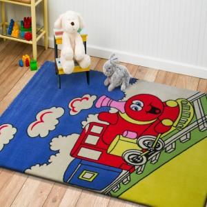 Veselý dětský koberec s vláčkem