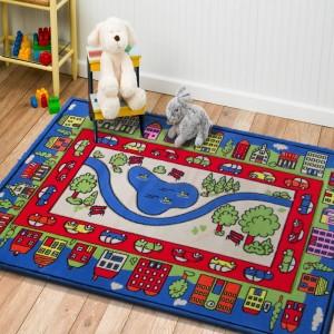 Město dětský koberec v modré barvě