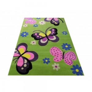 Zelený dětský koberec s motýlky