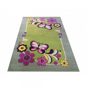 Dětský koberec v zelené barvě