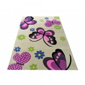 Krémový koberec s ružovými motýlikmi
