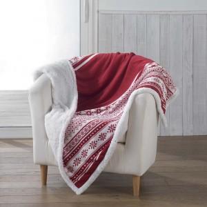 Zimní deka červené barvy s kožíškem FINLAND