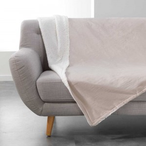 Béžová deka z jemného materiálu s kožešinkou AUSTRAL