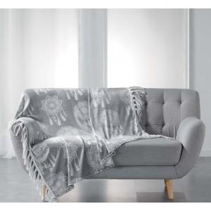 Luxusní deka šedé barvy s lapačem snů HOMEA