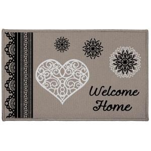 Béžový kobereček do koupelny s nápisem Welcome home ANGELINE