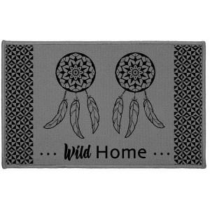 Kvalitní šedá rohožka do koupelny s potiskem DREAM HOME