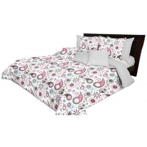 Kvalitní přehoz na postel oboustranný bílý s růžovým vzorem