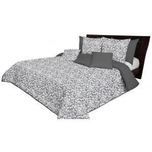 Šedě bílo zlatý přehoz na manželskou postel oboustranný