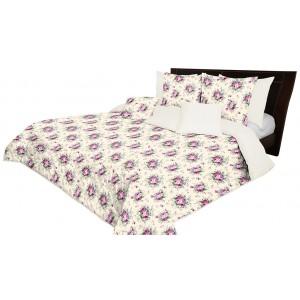 Krémový přehoz na postel oboustranný s květinovým motivem