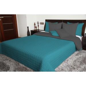 Tyrkysově šedý přehoz na postel oboustranný
