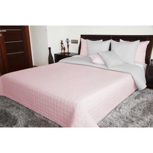 Přehoz na postel růžovo šedý oboustranný prošívaný