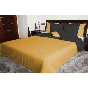 Prošívaný přehoz přes postel v moderní tmavě žluté a šedé barevné kombinaci