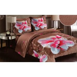 Povlečení na postel hnědé barvy s růžovým květem z měkkého materiálu