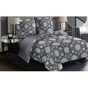 Luxusní oboustranné šedé ložní povlečení se vzorem