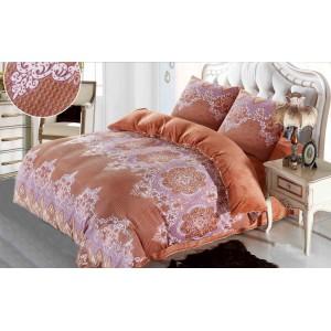 Elegantní hnědo růžové plyšové ložní povlečení s ornamentem