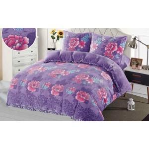 Teplé fialové povlečení s květinovým vzorem