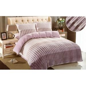 Plyšové pruhované povlečení na postel s pruhovaným motive
