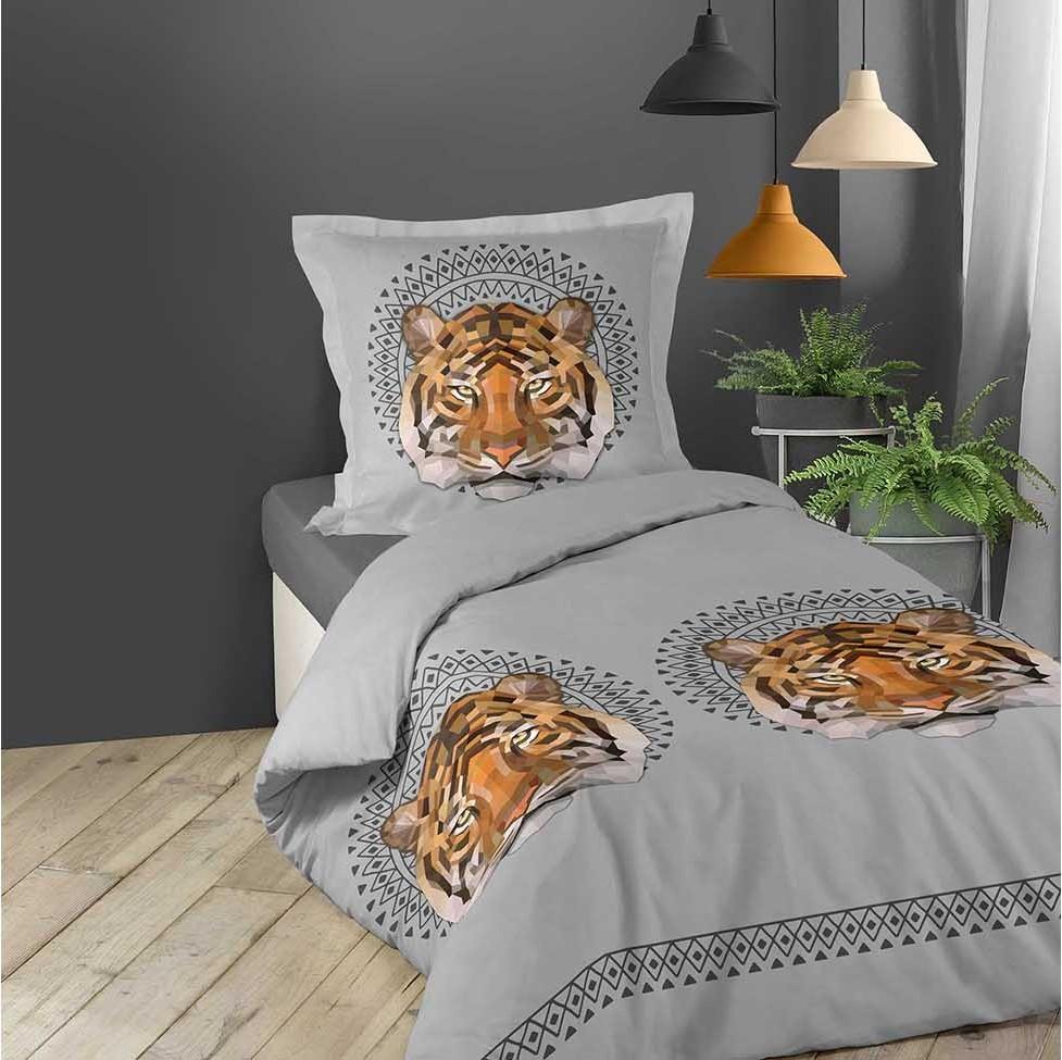 Bavlněné povlečení na postel šedé barvy s tygrem JACANA 140 x 200 cm