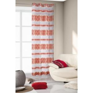 Oranžovo bílé závěsy s abstraktními vzory