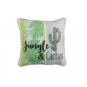 Zeleno bílý dekorační polštář s kaktusem GUYANE