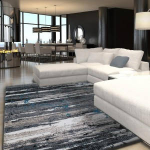 Moderní šedý koberec do obýváku